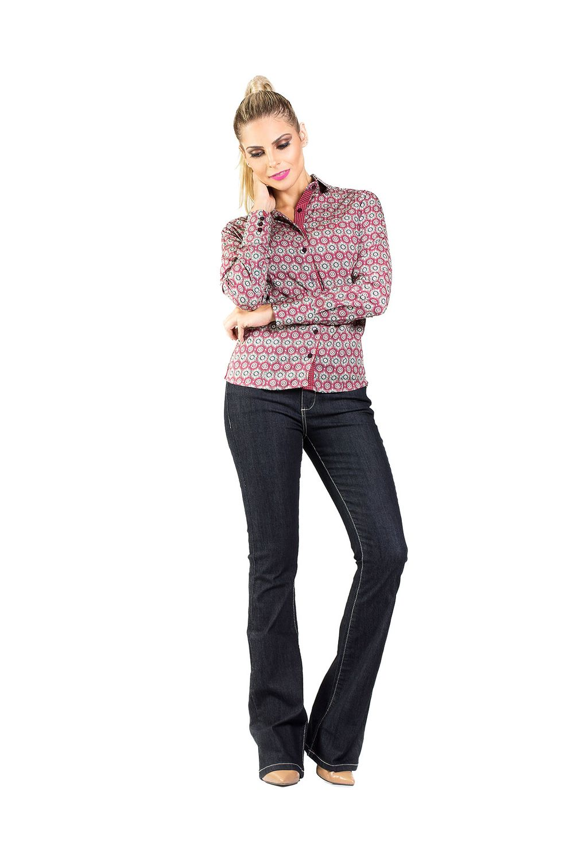97511d1c5 Camisa Feminina Slim Reta Arabesco Carlos Brusman - Moda it