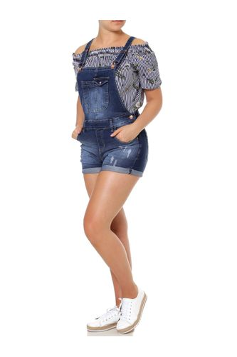 vizzy. Macacão Jeans Jardineira Feminino Azul 03b976bdb3c